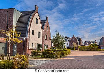 Striking modern family houses with playground - Striking...