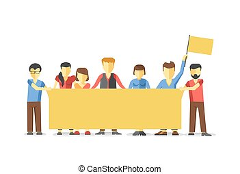 Striking people holding empty yellow banner. illustration