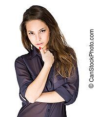 Striking young brunette. - Striking young brunette beauty in...