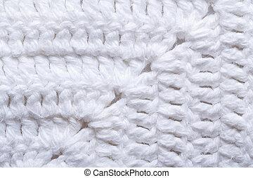 strikk, tekstur, hvid, fabric