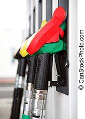 strilmunstycke, bensin, flera, pump, bensin förlagt