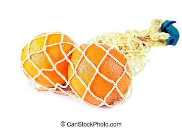 String bag with oranges