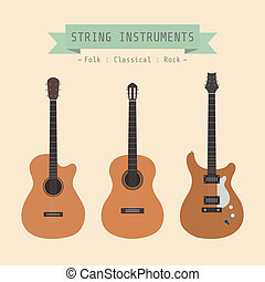 string instrument - type of guitar, folk, classical, rock, ...