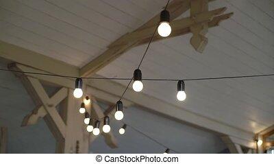 String lights indoors, garland decoration