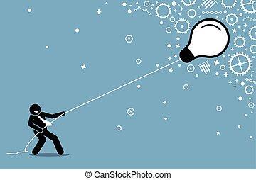 string., luce, volare, tirare, bulbo, uomo affari, galleggiante