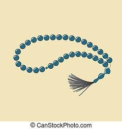 String of beads used by Muslims to keep track of counting in prayer