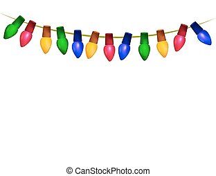 String of christmas lights isolated on white - String of...