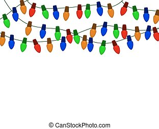 String of Color christmas light bulbs  isolated on white.