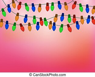 String of Color christmas light bulbs on red Background.