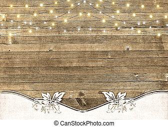 string of lights on barn wood