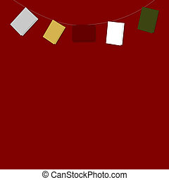 String of Plain Coloured Cards on Red