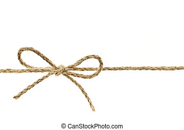 String tied in a bow - Closeup of braided twine tied in a ...