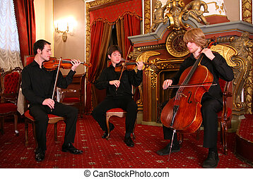 string trio in old classic interior