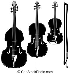 Stringed instruments in detailed vector silhouette. Set includes violin, viola, cello, upright bass, and bow.