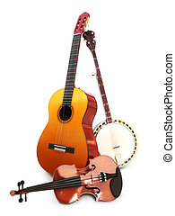 Stringed music instruments Guitar, banjo, violin on a white background.
