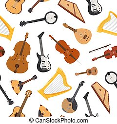 Stringed musical instrument with strings, bluegrass mandolin, banjo and lute, guitar seamless pattern vector illustration. String musical instruments isolated on white background.