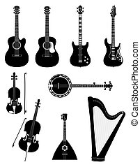 stringed musical instruments black outline silhouette stock vector illustration