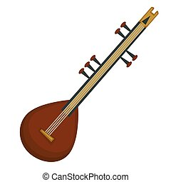 stringed, national, objet, isolé, sitar, instrument, indien, musical