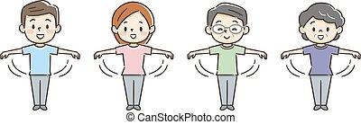 stringere le mani, esercizio, persone