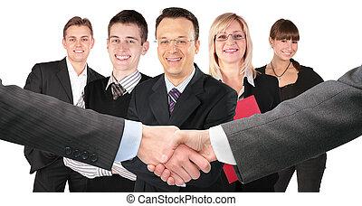 stringere mano, con, polsi, e, cinque, affari, gruppo,...