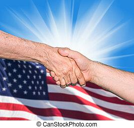 stringere mano, di, due, maschio, persone