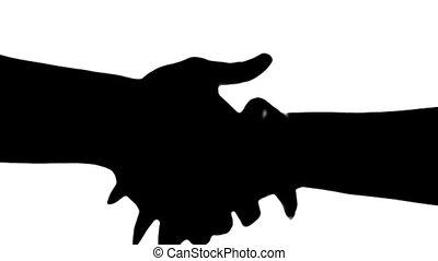 stringere mano, di, due persone, silhouette, isolato, su,...