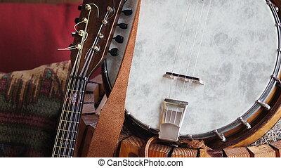 Strings - A tenor banjo and a mandolin nestled between sets