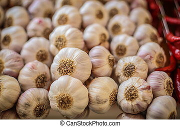 Strings of Garlic bulbs - Beads of Garlic bulbs at local...