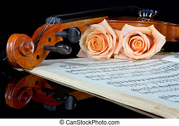 Strings of love - Sheet music of the Wedding March; with...