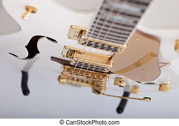 Strings on an electric guitar