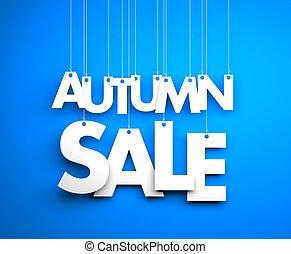 strings., testo, -, vendita, illustrazione, autunno, appendere, 3d