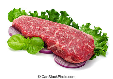 A perfectly marbled strip loin steak isolated on white.