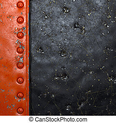 Strip of metal with rivets painted red in the shape of a rectangle on black metal background 3d