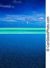 Strip of tropical ocean between pool and sky