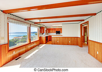strip, woonkamer, groot, hout, overzicht., keuken