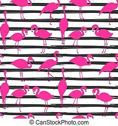 stripe broad and flamingos seamless - Vector seamless...