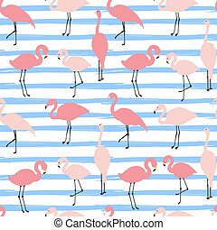 stripe broad and flamingos seamless - Vector seamless...