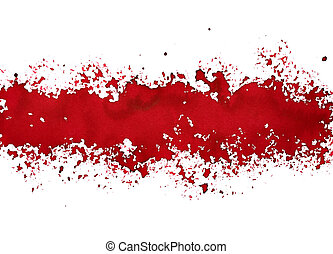 Stripe of spilt red paint - grunge abstract background -...