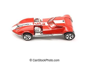 stripe., voiture, jouet, courses, rouges