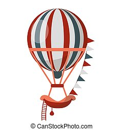 Striped air balloon with ladder isolated on white background