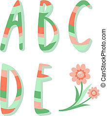 Striped alphabet letters a,b,c,d,e