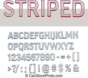 striped alphabet letters