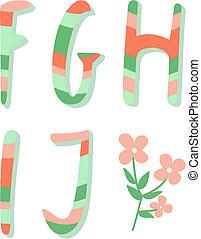 Striped alphabet letters f,g,h,i,j