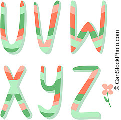 Striped alphabet letters u,v,w,x,y,z