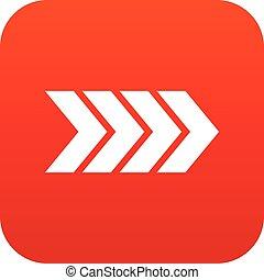 Striped arrow icon digital red