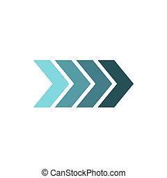 Striped arrow icon, flat style
