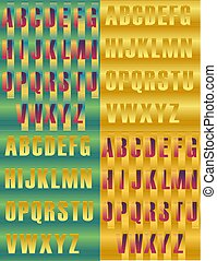 Striped artistic alphabets. Unusual fonts. Striped...