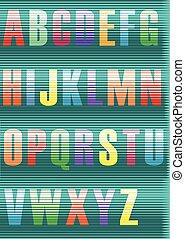 Striped artistic Font. Colorful vintage alphabet. Vector...