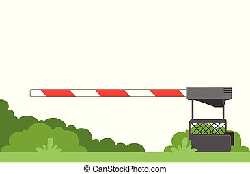 Striped automatic barrier prohibits traffic through railway...