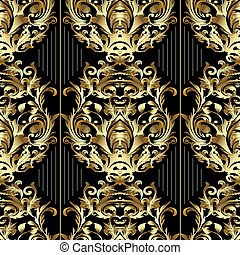 Striped Baroque seamless pattern. Vector black floral background